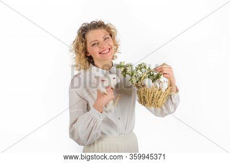 Spring Holiday. Easter Egg. Bunny. Happy Easter Day. Cute Furry Rabbit. Smiling Woman Holds Basket W