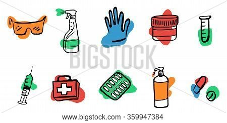 Medication, Pharmaceutics Concept. Vector Illustration Medicine, Pharmacy. Various Meds Set Is Prote