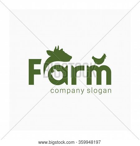 Farm Simple Logo. Livestock Icon. Animals Sign With Cow, Pig, Chicken And Word Farm. Green Label For