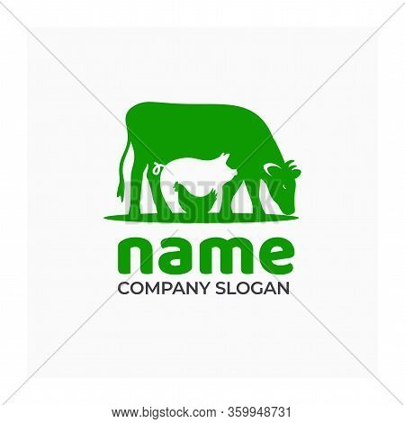 Farm Icon With Cow, Pig And Chicken. Logo For Agricultural Or Livestock Company. Green Symbol For Fa