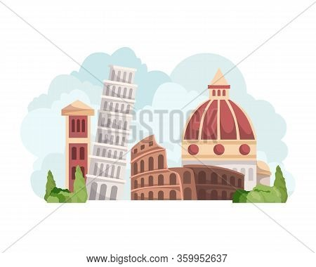 Vector Italy Skyline With Landmarks. Famous Landmarks Of Italy, Travel Italy Panorama Background. It