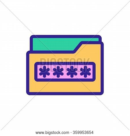 Password Folder Icon Vector. Password Folder Sign. Color Contour Symbol Illustration