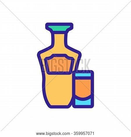Tequila Bottle Glass Icon Vector. Tequila Bottle Glass Sign. Color Contour Symbol Illustration