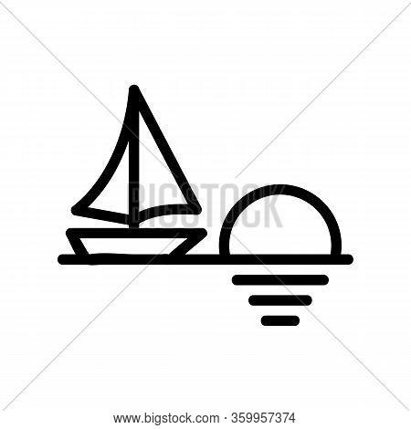 Sunset Sea Ship Icon Vector. Sunset Sea Ship Sign. Isolated Contour Symbol Illustration