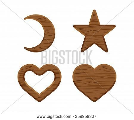 Wooden Crescent Moon, Star Wood Cute, Heart Shaped Wood, Wooden Heart Frame Shape Dark Brown Retro,
