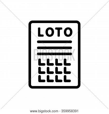 Lottery Bingo Icon Vector. Lottery Bingo Sign. Isolated Contour Symbol Illustration