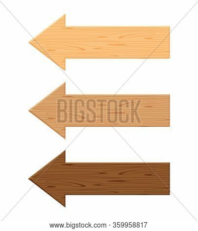 Wooden Arrow Plank Isolated On White Background, Wood Direction Sign, Wood Arrow Shape For Signboard