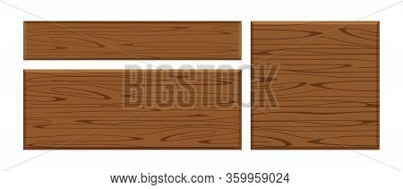 Wooden Plank Dark Brown Set Isolated On White Background, Wood Board Various Types Horizontal And Sq