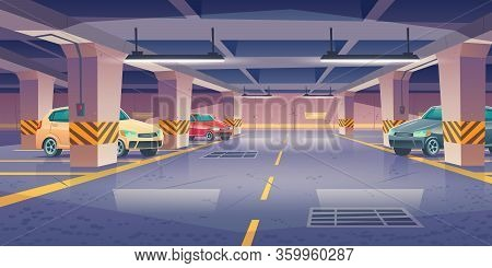 Underground Car Parking, Garage With Vehicles And Vacant Places. Area For Transport In Building Base