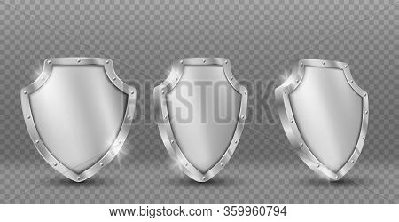Shield Vector Icons Set, Gold Medieval Knight Ammo, Guard With Engraved Border, Award Trophy, Milita