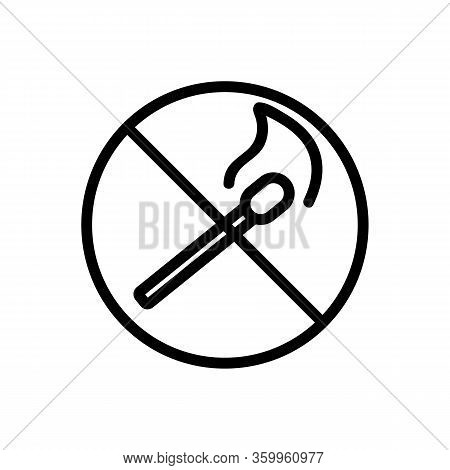 Matches Banned Icon Vector. Matches Banned Sign. Isolated Contour Symbol Illustration