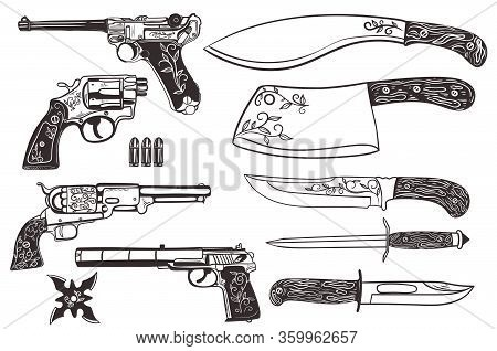Set Of Knives And Pistols Isolated On A White Background. Vector Image.
