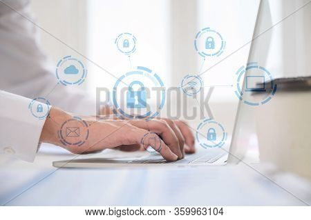 Businessman Working On Laptop. Protection Network Security Computer And Safe Your Data Concept. Digi
