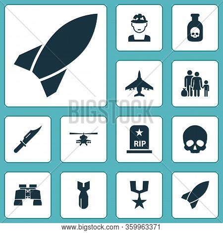 Combat Icons Set With Knife, Bomb, Helicopter And Other Fugitive Elements. Isolated Illustration Com