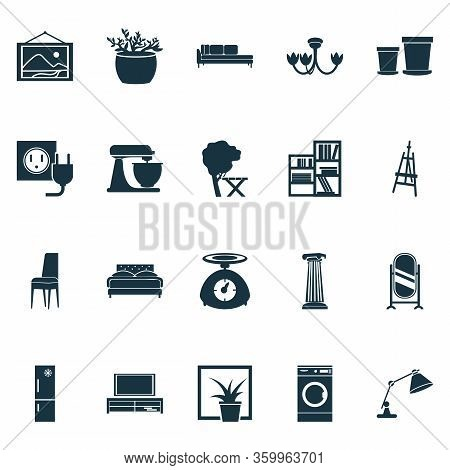 Home Decoration Icons Set With Wall Picture, Tv Bench, Shelving Unit And Other Stand Vanity Elements