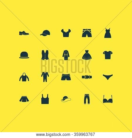 Garment Icons Set With Briefs, Sarafan, Clothes And Other Shirt Elements. Isolated Vector Illustrati