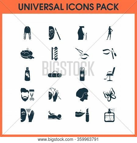 Beautiful Icons Set With Face Scrub, Eyebrow Product, Barber Chair And Other Suntan Elements. Isolat