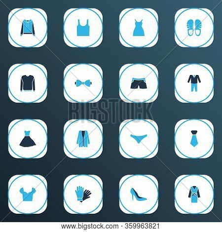 Clothes Icons Colored Set With Knickers, Sundress, Tie And Other Stiletto Elements. Isolated Vector