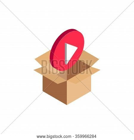 Isometric Play Video Icon, 3d Video Player Symbol In Open Cardboard Box Isolated. Multimedia Files A