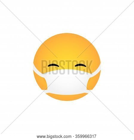 Laughing Kawaii Emoticon With Medical Mask Isolated On White Background. Corona Virus Protection Con