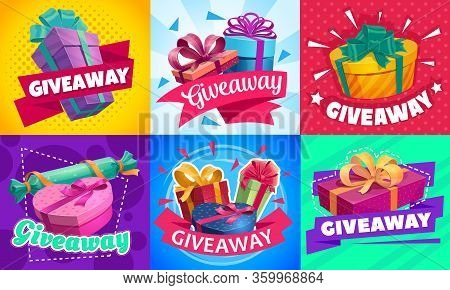 Giveaway Gift Boxes, Promotion Contest And Competition Free Prizes, Vector Posters. Holidays And Sho