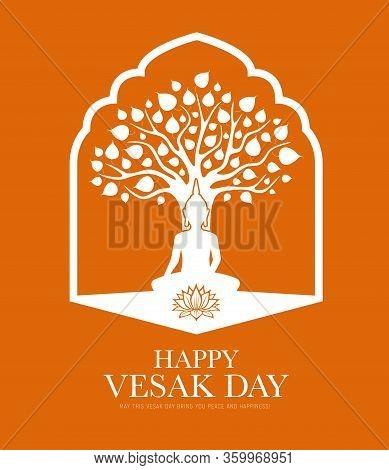 Vesak Day Traditional Buddhism Religion Holiday, Buddha In Lotus At Tree, Vector. Vesak Day Or Buddh