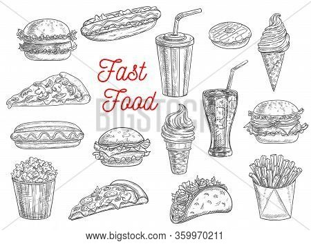 Fast Food Sketch Vector Icons Of Burgers, Sandwiches, Hot Dogs, Desserts And Snacks. Fastfood Hand D