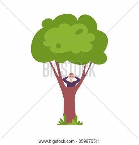 Young Man Hiding Behind Green Tree And Looking Through Binoculars Vector Illustration