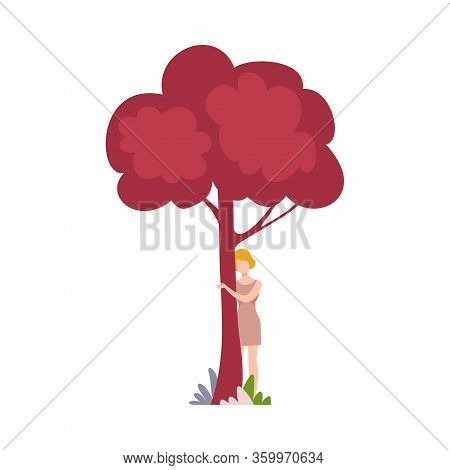 Girl Hugging Tree Trunk, Young Woman Standing Behind Red Tree Vector Illustration