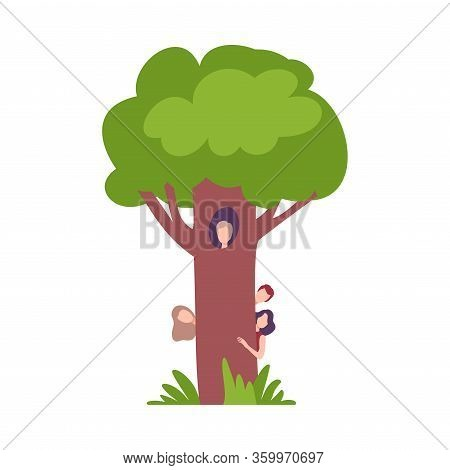 People Hiding Behind Green Tree, Man Peeking Out Of Hollow Vector Illustration