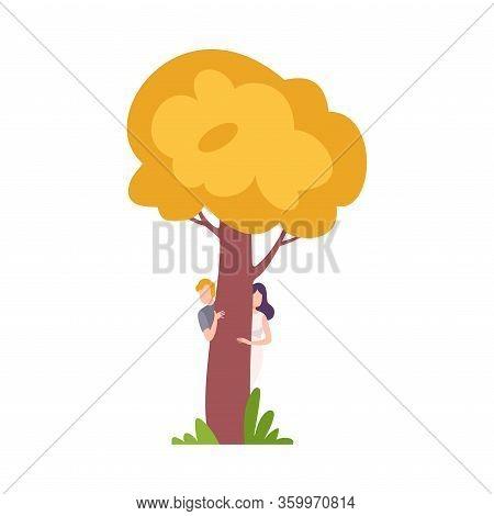 Young Man And Woman Hiding And Peeking Behind Yellow Tree Vector Illustration