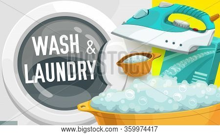 Laundry Service Vector Design Of Washing Machine And Detergent Powder, Iron, Plastic Wash Basin And