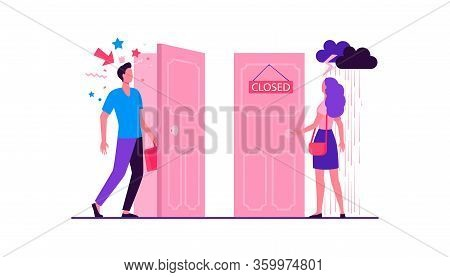 Woman Standing In Rain And Thunderstorm At Close Door. Man Coming By Open Door With Festive Confetti