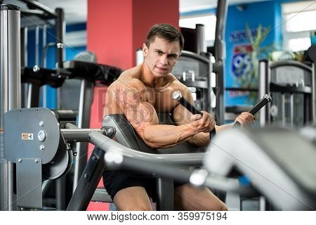 Exercise For Biceps. Young Bodybuilder Doing Heavy Weight Exercise For Biceps.