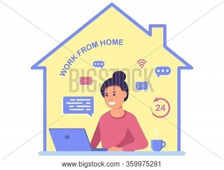 A man with a computer works from home. Stay at home, programming, remote work, freelancing. Quarantine to coronovirus. Self-isolation. Work from home. Flat vector concept. Coronavirus stay home. Work from home. Freelance Business woman at his desk is work