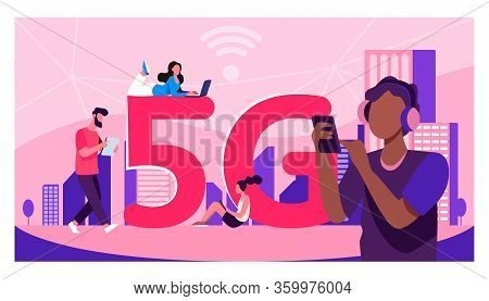 Young People Using 5g High Speed Wireless Internet Connection. Men And Women Using Digital Devices W