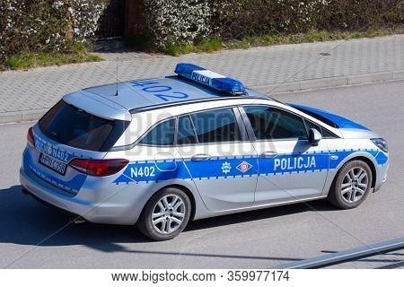 Gdansk, Poland - April 5, 2020: Police patrol on the street during the coronavirus epidemic, Poland