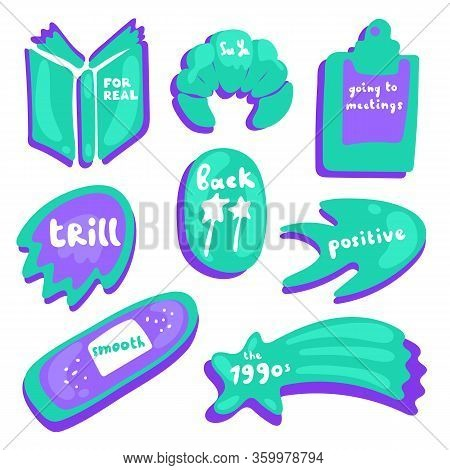 Colored Icons In Fluorescent Purple And Turquoise Color. Collection Of Vector Glossy Stickers On Whi