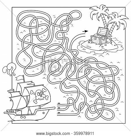 Maze Or Labyrinth Game For Preschool Children. Puzzle. Tangled Road. Matching Game. Coloring Page Ou