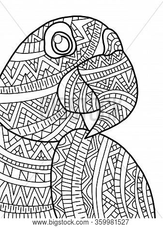 Funny Smiling Cartoon Blue Macaw Coloring Page For Kids And Adults. Exotic Tropical Doodle Bird For