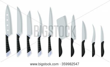 Set Of Butcher Meat Knives For Design Butcher Themes. Different Kind Of Knives For Chefs, Knife Icon