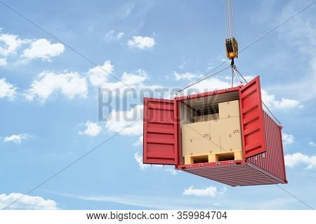 3d Rendering Of Open Red Cargo Container Full Of Cardboard Packages, Suspended From Crane.