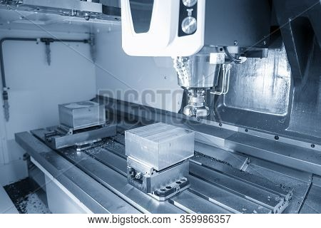 The Cnc Milling Machine Rough Cutting  The Injection Mold Parts By Face-mill  Tools. The Mold And Di