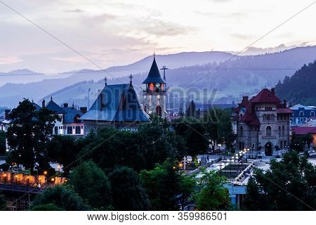 Piatra Neamt, Romania - June 22, 2019: Aerial View Of The City Center Piatra Neamt And In The Backgr