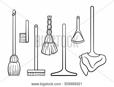 Outline Style Mops, Broom, Dustpan, Brush And Besom For Cleaning