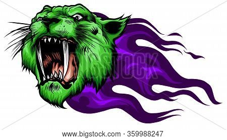 Head Jaguar With Flame Tattoo Vector Illustration