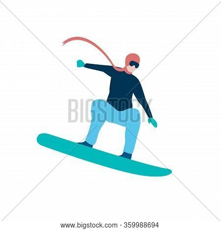 Man Jumping On Snowboard Flat Icon. Freestyle, Extreme Sport, Ski Resort. Winter Activity Concept. C