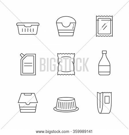 Set Line Icons Of Food Packaging Isolated On White. Alcohol Bottle, Cake Package, Lunch Box, Doy-pac