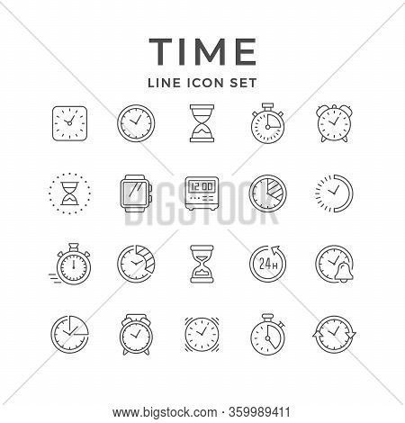 Set Line Icons Of Time Isolated On White. Wrist Watch, Hourglass, Deadline Concept, Digital And Vint