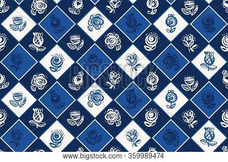 Plaid And Flower Classic Folk Style Seamless Pattern For Background, Wrap, Fabric, Textile, Wrap, Su